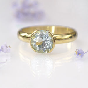 Aquamarine Ring In Tulip Design, 18ct Gold Or Platinum - precious gemstones