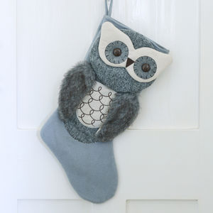 Grey Owl Christmas Stocking - stockings & sacks