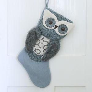 Grey Owl Christmas Stocking - christmas decorations sale