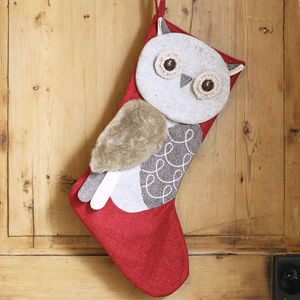 Red Owl Christmas Stocking - stockings & sacks