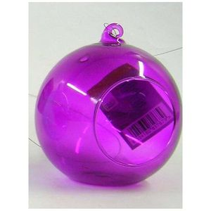 Glass Bauble Hanging Tealight Holder / Pastel Purple