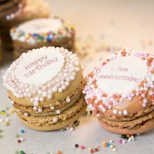 Box Of 12 'Happy Birthday' French Macarons - macarons