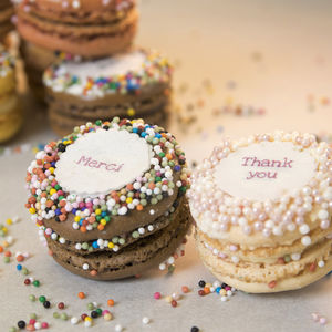 Gift Box Of 12 Thank You French Macarons - tea for two