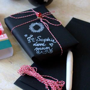 Chalkboard Wrapping Paper Twine And Pen - wrapping