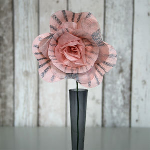 Apricot And Grey Stripe Paper Rose