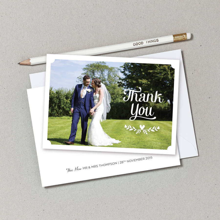 personalised wedding photo thank you postcards by doodlelove