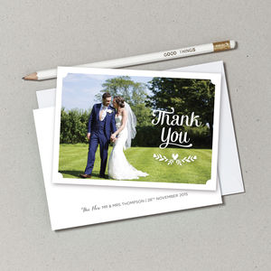 Personalised Wedding Photo Thank You Postcards - thank you cards
