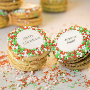 Gift Box Of 12 'Merry Christmas' French Macarons