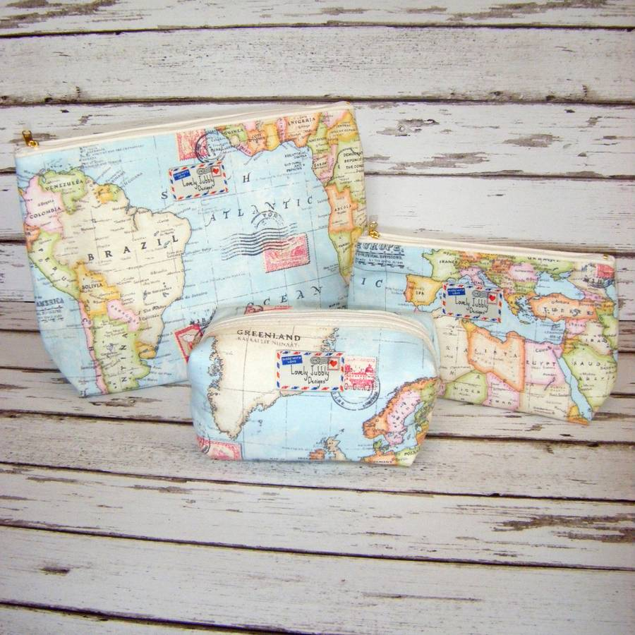 World map travel gift makeup toiletry wash bag by lovely jubbly world map wash bag gift set 2 box small large gumiabroncs Gallery