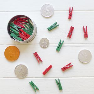 Tin Of Mini Wooden Pegs