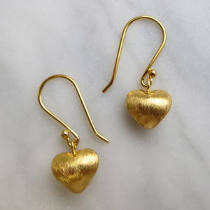 Brushed Gold Puff Heart Shaped Drop Earrings - earrings