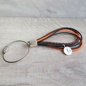 Letter Charm And Leather Keyring