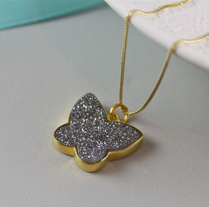 Butterfly Pendant In Gold With Druzy