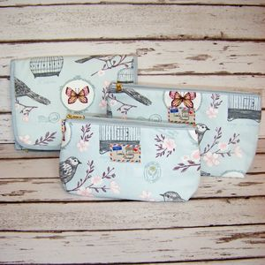 Birdcage Bird Butterfly Makeup Toiletry Hang Wash Bag - make-up bags
