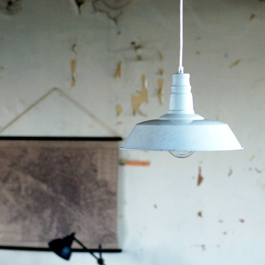 White Warehouse Industrial Ceiling Pendant Light By The