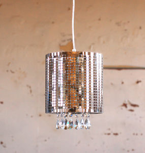 Silver Shade Crystal Chandelier Ceiling Light