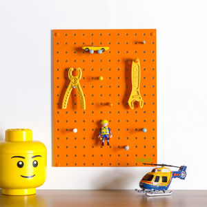 Orange Pegboard With Wooden Pegs, Small