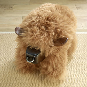 Sheepskin Bull Stool Highland Cow Ginger - furniture