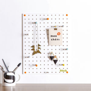 White Pegboard With Wooden Pegs, Small