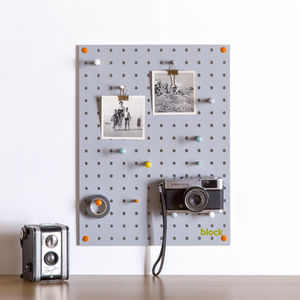 Grey Pegboard With Wooden Pegs, Small - noticeboards