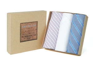 Box Of Italian Cotton Hankies: Pink And Blue Stripes