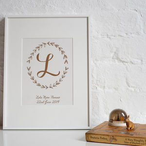 Personalised Foil Baby Prints - nursery pictures & prints