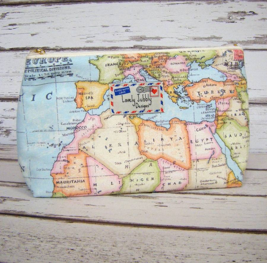 World map travel gift makeup toiletry wash bag by lovely jubbly world map travel wash bag small gumiabroncs Image collections