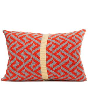 Red + Grey Knitted Geo Cushion - cushions