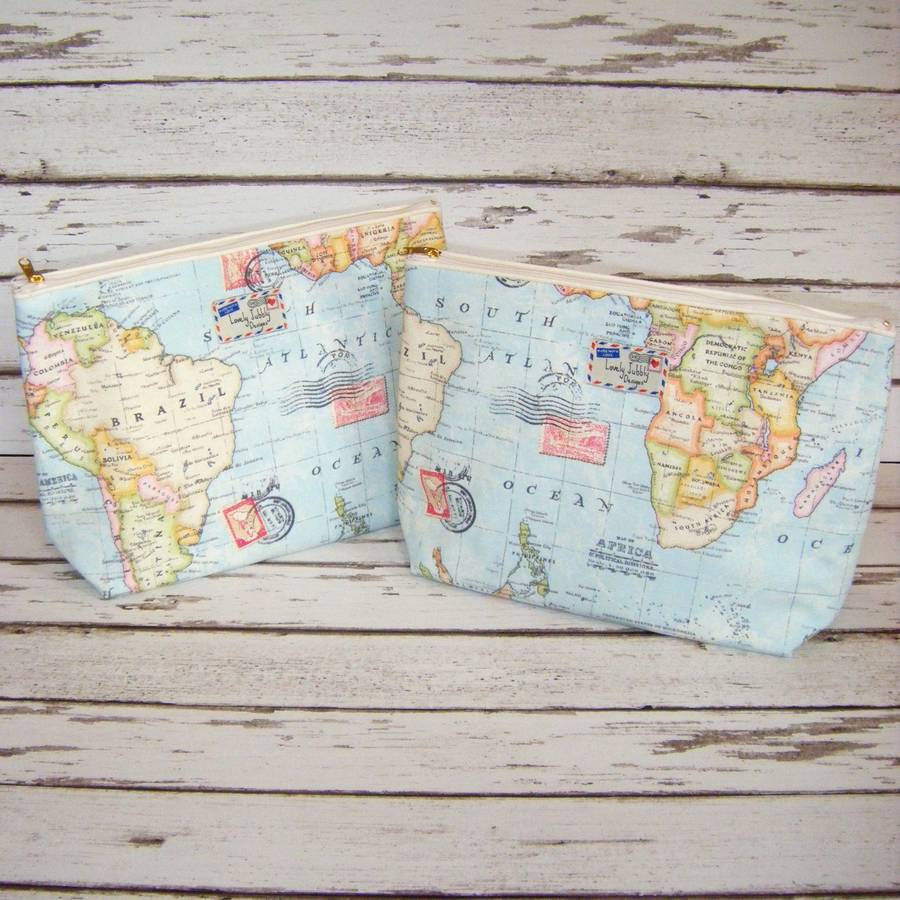 World map travel gift makeup toiletry wash bag by lovely jubbly world map travel wash bag large gumiabroncs Image collections