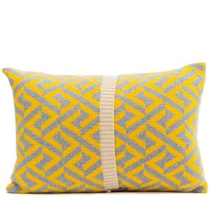 Grey + Yellow Knitted Geo Cushion - cushions