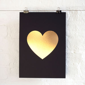 Foil Love Heart Print - posters & prints