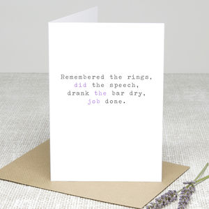 'Remembered The Rings' Wedding Thank You Card - wedding stationery