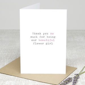 'Flower Girl' Wedding Thank You Card - thank you cards