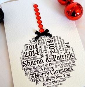 Personalised Bauble Sparkle Card
