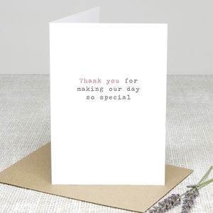 'So Special' Wedding Thank You Card - thank you cards