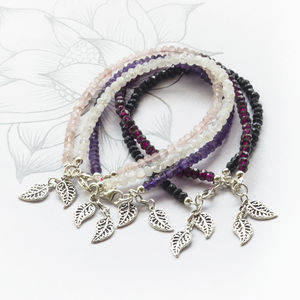 20% Off Silver And Gemstone Leaf Charm Bracelets - charm jewellery