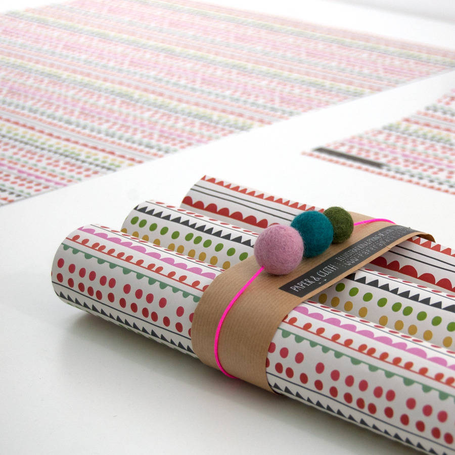 louise stripe christmas gift wrapping paper five sheets by paper & cloth design studio ...