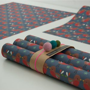 Louise Robin Christmas Gift Wrapping Paper Five Sheets - wrapping