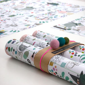 Christmas Character Wrapping Paper Five Sheets - wrapping paper