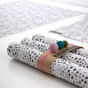 Bec Snowy Christmas Wrapping Paper Blk/Wht Five Sheets - wrapping paper