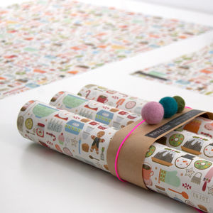 20% Off Louise Xmas Bakery Wrapping Paper Five Sheets - wrapping paper