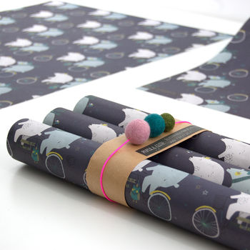Carly's Polar Tandem Wrapping Paper Five Sheets