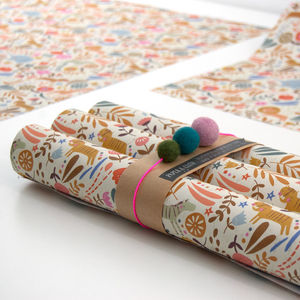 Louise Safari Travels Wrapping Paper Five Sheets - wrapping paper