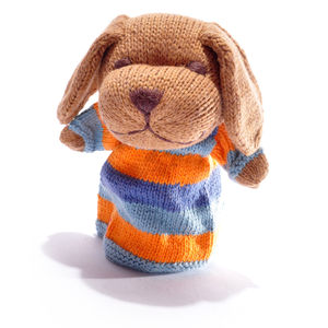 Stripy Dog Hand Puppet In Organic Cotton
