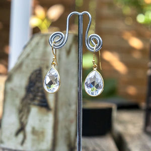 Crystal Gold Dangly Drop Earrings