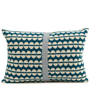 Oatmeal + Blue Knitted Spot Cushion