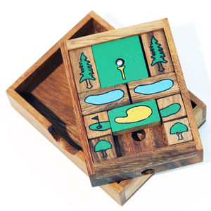 Golf Hole In One Wooden Slider Puzzle - gifts for golfers