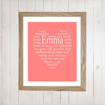 Bridesmaid Thank You Personalised Heart Print