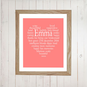 Bridesmaid Thank You Personalised Heart Print - bridesmaid gifts