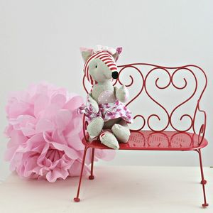 Miniature Red Dolls Play Bench